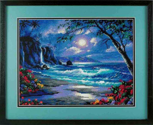 paesaggio marino con spiaggia e onde-schema a punto croce spiaggia sotto la luna (2)